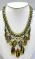 Baltic Amber Necklace with Green Stones