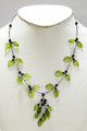 Baltic Amber Necklace - Green Leaves and Red Berries
