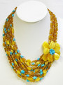 Amber and Turquoise Multi-String Necklace | Baltic Amber