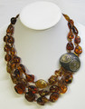 Amber Necklace - Decorated with Gold