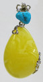 Butterscotch Baltic Amber Pendant with Turquoise - Large