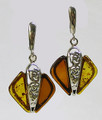 Double Color Baltic Amber Earrings