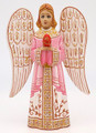 Hand Carved Angel with Easter Egg- Pink Dress