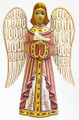 Hand Carved Angel with Bird - Pink Dress