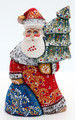Carved Santa with Blue Bag | Grandfather Frost / Russian Santa Claus