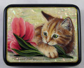 Kitten with Tulips | Fedoskino Lacquer Box