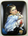 A Girl with a Kitten | Fedoskino Lacquer Box
