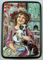Girl with a Dog and a Kitten | Fedoskino Lacquer Box