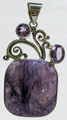 Square Charoite Pendant with two Amethysts
