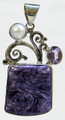 Square Charoite Pendant with Amethyst and Pearl