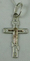 Small Silver Orthodox Cross with Crucifix