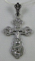Small Silver Orthodox Cross with Silver Crucifix