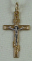 Russian Orthodox Crucifix Pendant 585 (14k) Yellow and White Gold