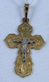 Russian Orthodox Cross Pendant 585 (14k) Yellow and White Gold