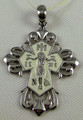 Sterling Silver White Enamel Orthodox Cross Pendant