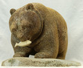 Large Bear Head Down with Salmon by Eugene Romanenko | Whalebone / Walrus Jawbone Carving