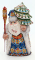 Blue and Gold Russian Santa with Large Christmas Tree | Grandfather Frost / Russian Santa Claus