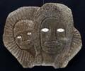 Mother and Child Mask by Harvey Weyiouwanna | Alaska Whalebone / Fur Mask