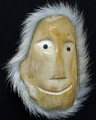 Walrus Cheekbone Mask with Polar Bear Fur | Alaska Whalebone / Fur Mask