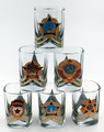 Russian Shot Glass with Insignia - Assorted set of 6