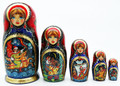 Kaleidoscope of Russian Fairy Tales 5 Piece Nesting Doll