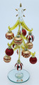 Green Glass Christmas Tree with Ornaments - Gold/Red/Silver