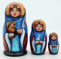 3 Piece Snegurochka Matryoshka with Squirrel | Fine Art Matryoshka Nesting Doll