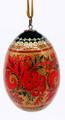 Khokhloma Egg Christmas Ornament - Red