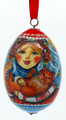 Girl with Red Cat Christmas Ornament Egg - Large