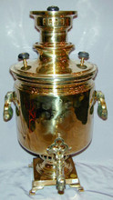The body of the samovar is in excellent condition with some minor mineral deposit in the interior due to use. The samovar measures approximately 50cm high and has a volume of approximately 7 liters.