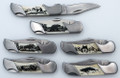 Black & White Scrimshaw Lockback Knife