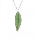 Jade Leaf Pendant - Sterling Silver