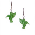 Nephrite Jade Hummingbird Earrings - Sterling silver