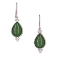 Nephrite Jade Teardrop Earrings - Sterling silver