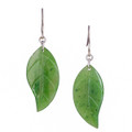 Nephrite Jade Leaf Earrings - Sterling Silver