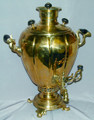 The body of the samovar is in excellent condition with mineral deposit in the interior due to frequent use.