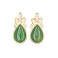 Nephrite Jade Teardrop Earrings - Gold Plated