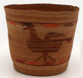 Antique Tlingit Native Hand Woven Basket with Birds