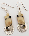 Rectangular Fossil Walrus Ivory Earrings with Silver Discs | Robert Cutler's Bowls and Jewelry