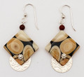 Rhombus Shape Walrus Ivory Earrings with Silver Discs | Robert Cutler's Bowls and Jewelry