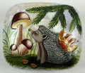Hedgehog with Mushrooms | Fedoskino Lacquer Box