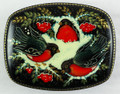 Russian Lacquer Box - Three Bullfinches on the Branches