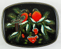 Russian Lacquer Box - Two Bullfinches on the Branches