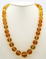 Champagne Amber Round Bead Necklace   Baltic Amber