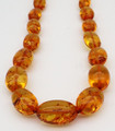 Honey Amber Oval Bead Necklace   Baltic Amber