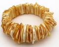 Stretch Butterscotch Amber Bracelet - Thin Links   Baltic Amber