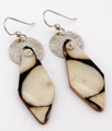 Fossil Walrus Ivory Earrings with Silver Discs | Robert Cutler's Bowls and Jewelry