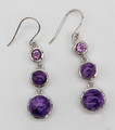 Charoite and Amethyst Earrings