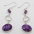 Charoite and Amethyst Earrings - Oval