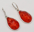 Cognac Baltic Amber Teardrops Earrings